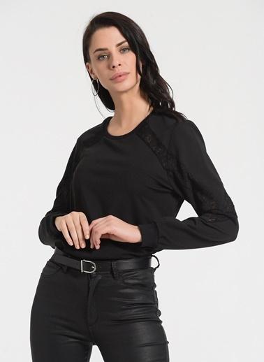 Styletag Dantel Garnili Sweatshirt Siyah